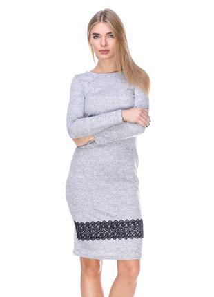 Модное платье миди, платье футляр, платье с кружевом