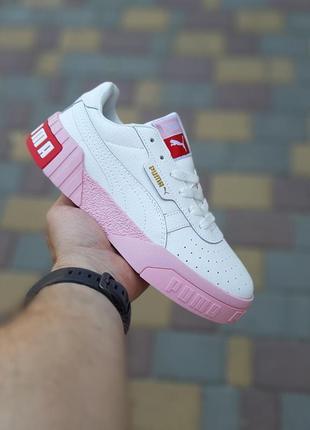 Женские кроссовки puma cali белые на розовой