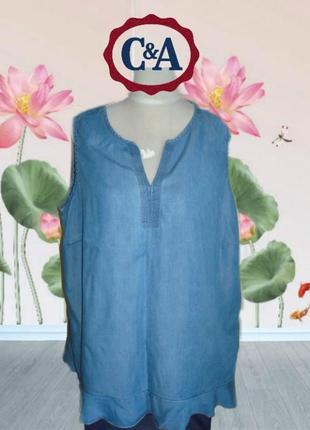 🐞🐞yessica c&a пог 60 см стильная легкая майка туника джинс батал в стиле бохо деним 🐞🐞