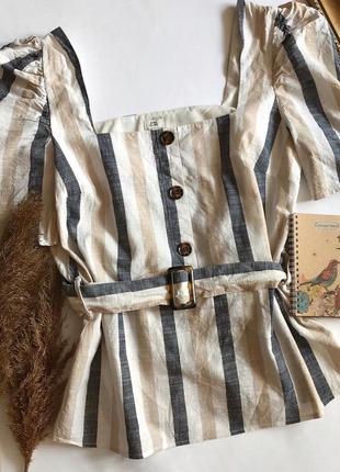 Полосатая блуза с трендовыми пуговицами и объемными рукавами river island