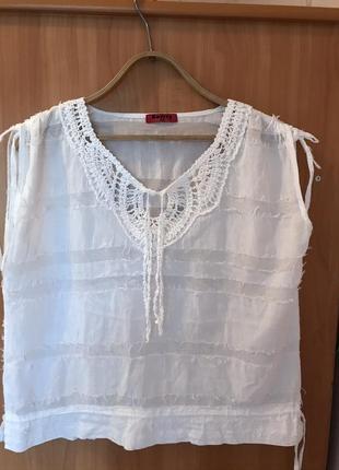 Натуральная брендовая фирменная  летняя  блузка, кофточка, рубашка, топ