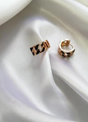 Серьги-кольца с чёрной эмалью