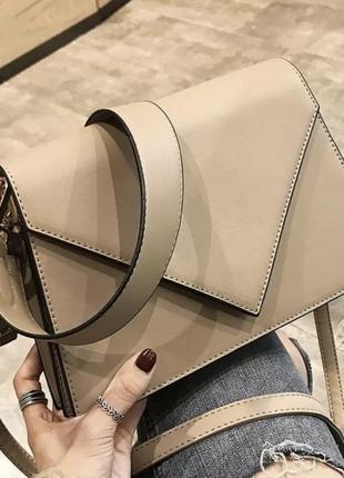 Женская повседневная бежевая сумка с двумя ремешками