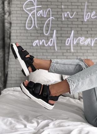 Женские сандали nb slippers black white sole
