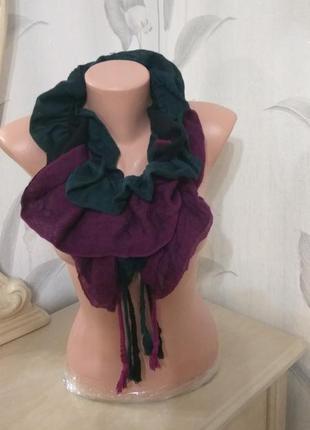 Стильный шарф,  повязка на шею - рюшем, шар с воланоми