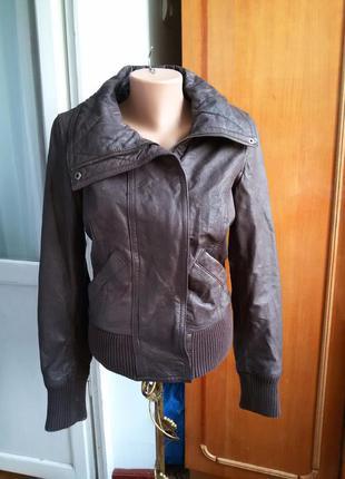 Стильная кожаная куртка дорогой бренд kookai / 100% кожа