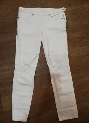 Джинсы брюки штаны белые кремовые женские ровные золотая нить