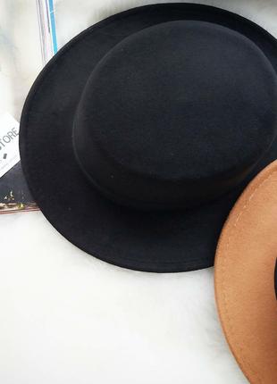 В наличии шляпа канотье из фетра шерсти черная