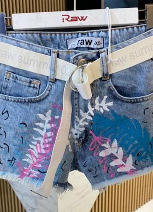 Джинсовые шорты с ярким принтом, люкс качество стамбул, размер хс.