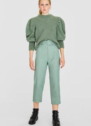 Стильные укороченые брюки с высокой талией и текстильным поясом