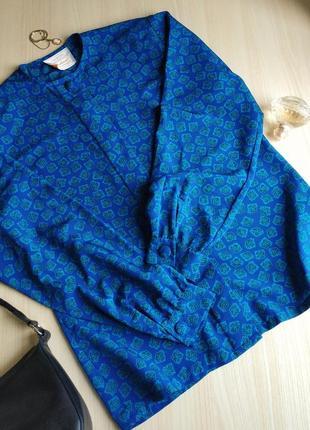 Рубашка синяя блузка винтажная s m l голубая орнамент