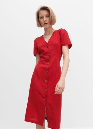 Красное льняное платье из премиум линейки reserved, новое с биркой