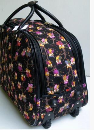 Дорожная сумка на колесах, с выдвижной ручкой, среднего размера, текстиль