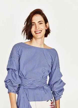 Блуза рубашка на запах в полоску зара блузкана завязках