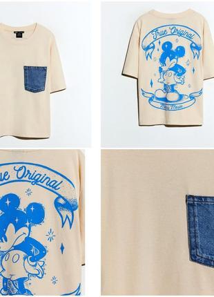 Новая футболка zara оригинальным принтом мики мауса на спинке, рs