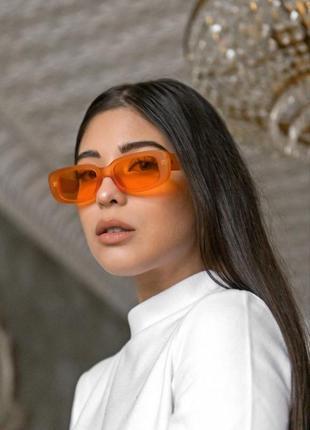 Тренд оранжевые очки солнцезащитные узвие ретро 60-е окуляри помаранчеві сонцезахисні