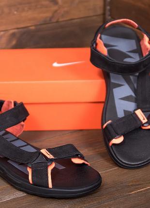 Мужские кожаные сандалии nike track black  n-5 ч\оранж санд