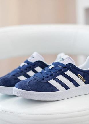 Кросовки adidas gazelle синие с белым замшевые кроссовки
