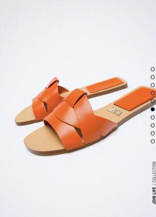 Шлёпки кожаные кожа натуральная сандали тапки тапочки zara оригинал