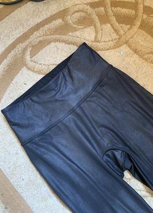 Лосины леггинсы матовые под кожу высокая посадка широкая талия пояс резинка колени замочки