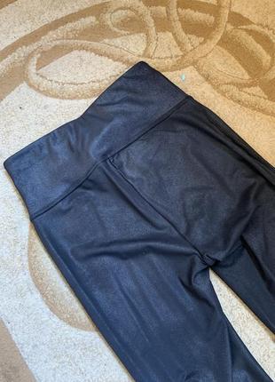 Лосины леггинсы матовые под кожу высокая посадка широкая талия пояс резинка колени замочки5 фото