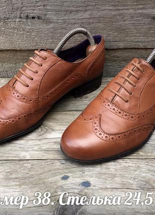 Clarks размер 38 броги оксфорды туфли коричевые рыжие кожаные