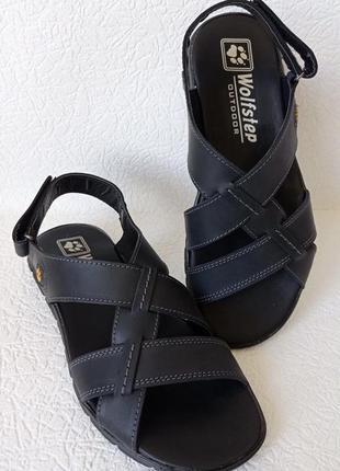 Wolfskin! мужские черные сандалии, босоножки из натуральной кожи, сандали