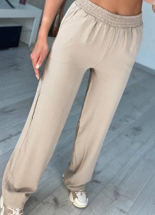 Женские брюки креп жатка лёгкие летние свободные прогулочные деловые штаны хлопок шнурок