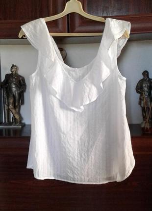 Белоснежный хлопковый топ ,блузка без рукавов с воланом у ворота gap