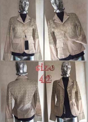 Модный элегантный пиджак жакет с шикарной драпировкой по натуральной коже