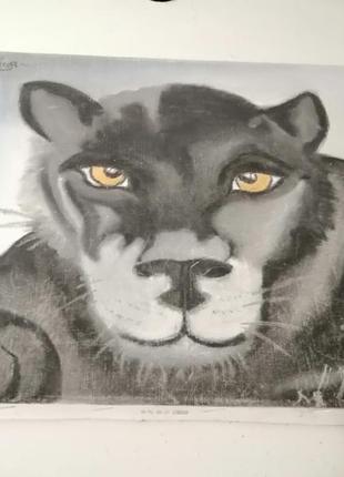 Картина черная пантера живопись
