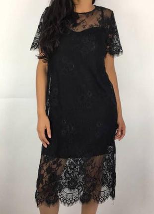 Платье гипюровое двойка h&m чёрное