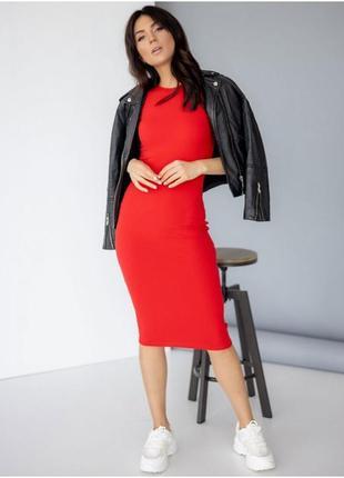 Платье миди в рубчик, красное летнее платье, приталене плаття