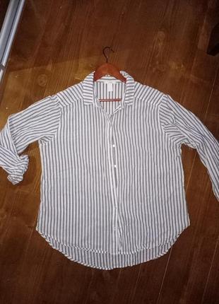 Тонкая женская рубашка в полоску. h&m