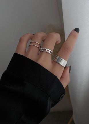 Кольцо кольца каблучки 3 шт набор комплект стильные тренд под серебро новые