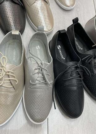 Женские туфли перфорация кожа