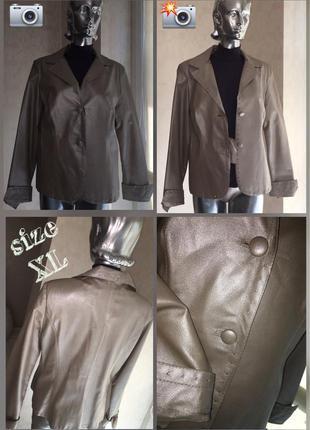 Стильный элегантный пиджак жакет с натуральной кожи италия