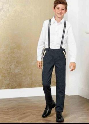 Стильные хлопковыре брюки с подтяжками