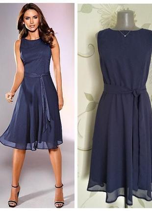 Платье шифоновое миди расклешенное с поясом