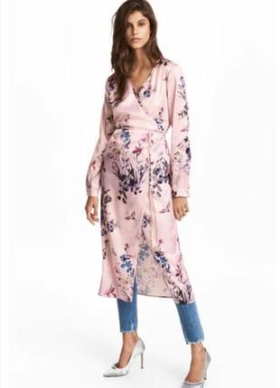 Стильное платье халат, накидка на запах h&m в цветочный принт