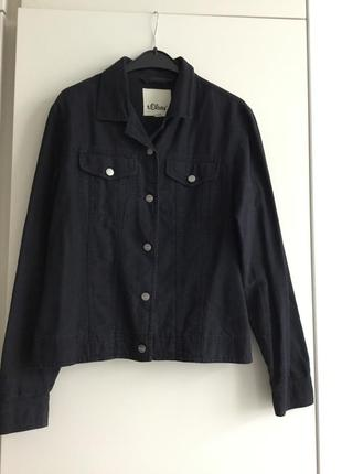 Куртка джинсового покроя из льна и хлопка
