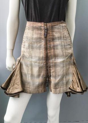 Вельветовая юбка  с атласными клешеными вставками , marithe & francois girbaud