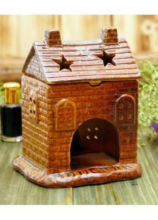 Аромалампа керамическая домик коричневый