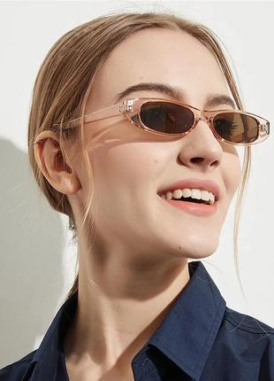 Ультрамодные узкие солнцезащитные очки прозрачные розовые коричневые ретро окуляри
