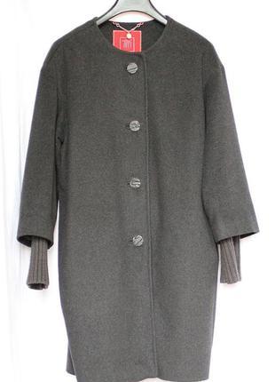 Темно-серое шерстяное пальто tiffi, p-р xl
