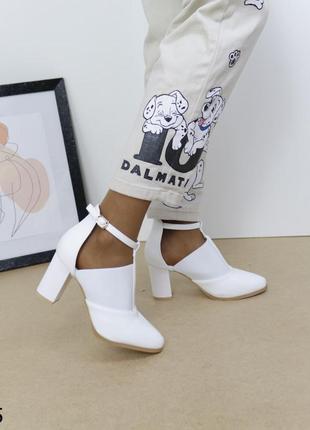 Туфли кожаные белые, женские туфли на устойчивом каблуке, женские туфли новинка 2021
