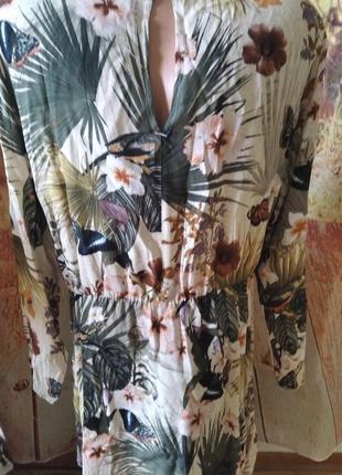 Вискозное брендовое платье, тропический принт, h&m