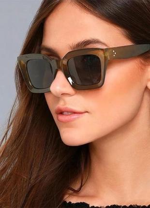 Шикарные солнцезащитные очки квадратные большие зеленые ретро окуляри сонцезахисні зелені