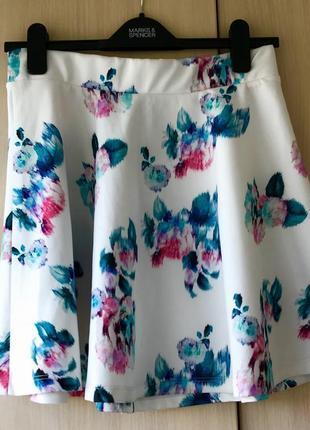 Расклешенная юбка pull&bear / s / l / цветочный принт