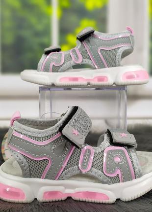 Детские сандалии босоножки для девочки с led подсветкой серые с розовым tom.m